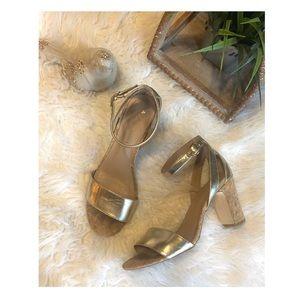 Anthropologie gold heels